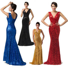 Glittering sequined Mermaid Formal Evening Long Gown Party Ball Bridesmaid Dress