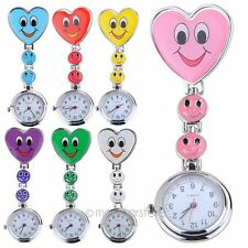 Diy Smile Face Heart Clip-on Nurse Doctor Brooch Pendant Fob Pocket Quartz Watch