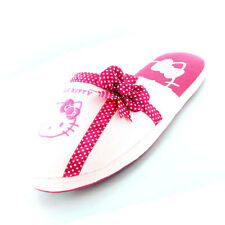 Ladies new  Hello Kitty pink velour mule slipper with motif and bow sizes 4-8