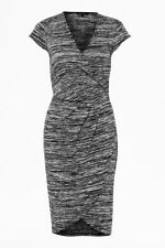 French Connection Dress RRP £65 Grey Black Soft Jersey Knit Wrap Front Size 4 6
