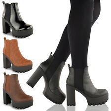 LADIES WOMENS CHUNKY PLATFORM CLEATED SOLE BLOCK HEEL CHELSEA ANKLE BOOTS SHOES