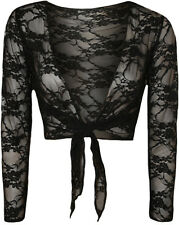 SEXY WOMEN LADIES BLACK FLORAL LACE LONG SLEEVE TIE UP SHRUG CARDIGAN