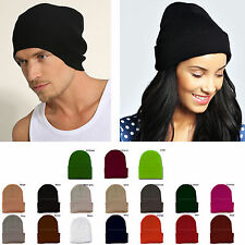 Mens Womens Plain Beanie Hat Knit Ski Cap Warm Solid Color Winter Cuff Blank New