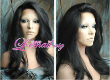 Soft indian remy 100% human hair Natural Wave lace front wigs 22inch #1b