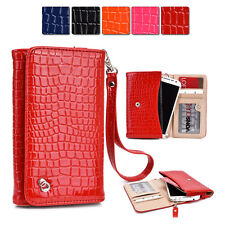 New Slim Crocodile PU Leather Wrist-let Cover Wallet Case DV|T fits Mobile Cell