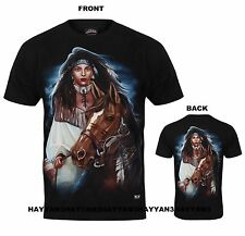 UNISEX T-SHIRT (INDIAN GIRL WITH HORS) PRINT FRONT & BACK 100% COTTON w671