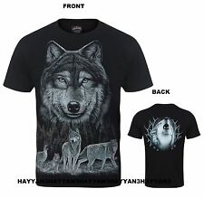 UNISEX  WOLF PACK /HOWLING WOLF AT MOON  PRINT FRONT AND BACK w565