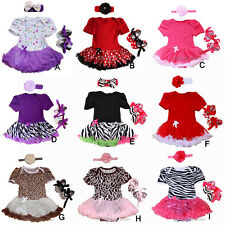 Newborn Infant Baby Girl 3pcs Romper Dress with headband & shoes  0-9Months