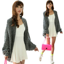 Lady Loose Batwing Poncho Knitwear Blazer High Low Open Front Cardigan Sweater D