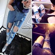Women Rock High Waist Casual Destroyed Ripped Hole Jeans Denim Trousers Pants
