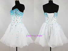 Strapless A Line Blue Crystal White Short Prom Dress Cheap Homecoming Dress 2014