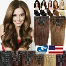 "Straight 13-22""SOFT Clip In Remy Real Human Hair Extensions US STOCK LABOR DAYvv"