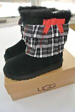 NIB Ugg Australia Eloise Boots Girls Sizes 11 or 12  Black with Plaid Bow