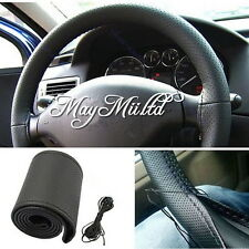 DIY Leather Car Auto Steering Wheel Cover With Needles and Thread M