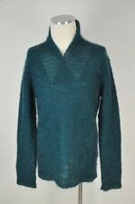 NWT BALMAIN PARIS DARK TURQUOISE/GREEN SHAWL COLLAR MOHAIR SWEATER TOP