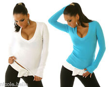 NEW Sexy Womens V-Neck Soft Cotton Jumper Sweater Top Size S M L XL 8 10 12 14