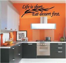 Life is Short Eat Dessert First Wall Decals Kitchen Vinyl Art Stickers Quotes