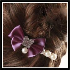 Cute Lady Fabric Bowknot and Pearl Duckbill Hairpin Hair Clip Barrette