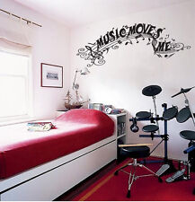 "Music Moves Me Vinyl Wall Quote Sticker Decal 13""h x 36""w"