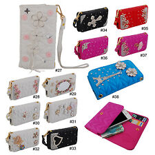"""Bling Diamond PU Leather Wallet Flip Bag Case Cover For 4.7""""-5"""" Mobile Phone"""