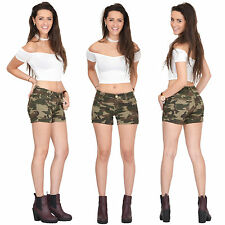 New Womens Army Military Dark Green Camouflage Fitted Stretch Hot Pants Shorts