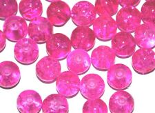 COLOURED GLASS ROUND CRACKLE CRAFT BEADS 4mm 6mm 8mm 10mm - FUSCHIA HOT PINK