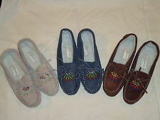 *NEW* Genuine Suede Beaded Moccasin/Navy/Brown/Tan/Several Popular Sizes/Ind/Out