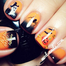 Halloween Nail Art Water Decals Hallowmas Stickers Pumpkin Spider Bat Pattern