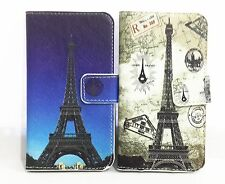 Romantic Eiffel Tower PU Leather Card Holder Wallet Cover Case for Nokia phones