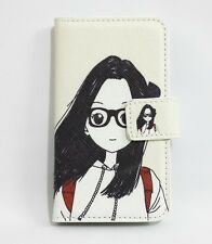 Lovely Cartoon Glasses Girl&Boy Flip Leather Card Wallet Cover Case for LG Phone