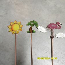 Tropical Garden Marker TALL Plant Stakes Stained Glass Look Room Theme