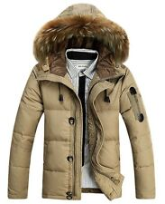 Men Winter Outwear Fur Collar Thick Warm Duck Down Coat Hooded Parka Down Jacket