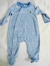 GAP LIGHT BLUE MEDIUM BLUE STRIPED VELOUR 1PC OUTFIT TEDDY BEAR LOGO FOOTIE LS