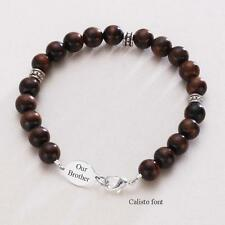 Engraved Bracelet, Man's Tigers Eye Jewellery, Gift for Brother, Boyfriend, Dad