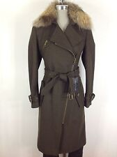 Andrew Marc NWT OLIVE  wool-blend natural Raccon fur belted coat , knee length