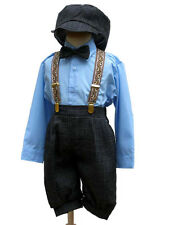 Boy Knickers Vintage Outfit Set , Sky Blue/Charcoal, Size: 2T,3T,4T