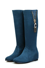 Women's Fashion Shoes Faux Suede Inner Wedge Heel Zip Up Knee Boots UK Size b042