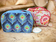 STEPHANIE CARTER LILY ASHBURY FLORAL BELLA or PEACOCK PLUME COSMETIC TRAVEL CASE