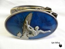 STUNNING BLUE OVAL MAN ON SURFBOARD SURFING BUCKLE WITH BELT *BRAND NEW*