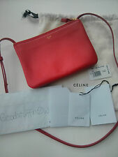 Authentic Celine Red Trio Crossbody Handbag Clutch