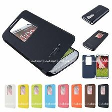 Window View Slim Wallet Flip Leather Case Cover For LG G2 D802