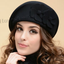 100% Wool womens beret beanie Church Dress hat  cadet elegant winter Hat