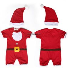 Infant Christmas Snow Style Jumpers Cloths Romper Baby Outwear Suit + Cap CaF8