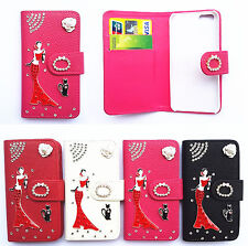 Diamond Girl Flip PU Leather Card slots wallet cover case for Samsung phone 1