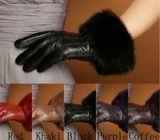 New Women Warm Winter Genuine Sheep Leather Rabbit Fur Touch Screen Wrist Gloves