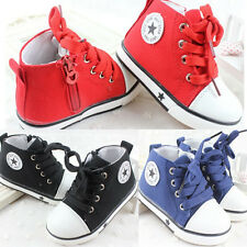 New Hot Baby's Kid's High Top Multi Color Boy Gril Canvas Sneakers Shoes Lace Up