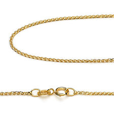 14K Pure Yellow Gold 1.2mm Wheat Chain Necklace 16, 18, 20, 22, 24 Inch