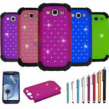 Hybrid Rugged Rubber Bling Crystal Case Cover for SAMSUNG GALAXY S3 S III i9300