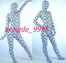 NEW SUIT LYCRA SPANDEX ZENTAI FANCY WHITE/BLACK FULL BODY CATSUIT COSTUMES #X118