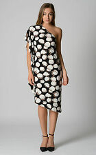 AUSTRALIAN DESIGNED & MADE Dominique Coffee Bean Print One Shoulder Dress